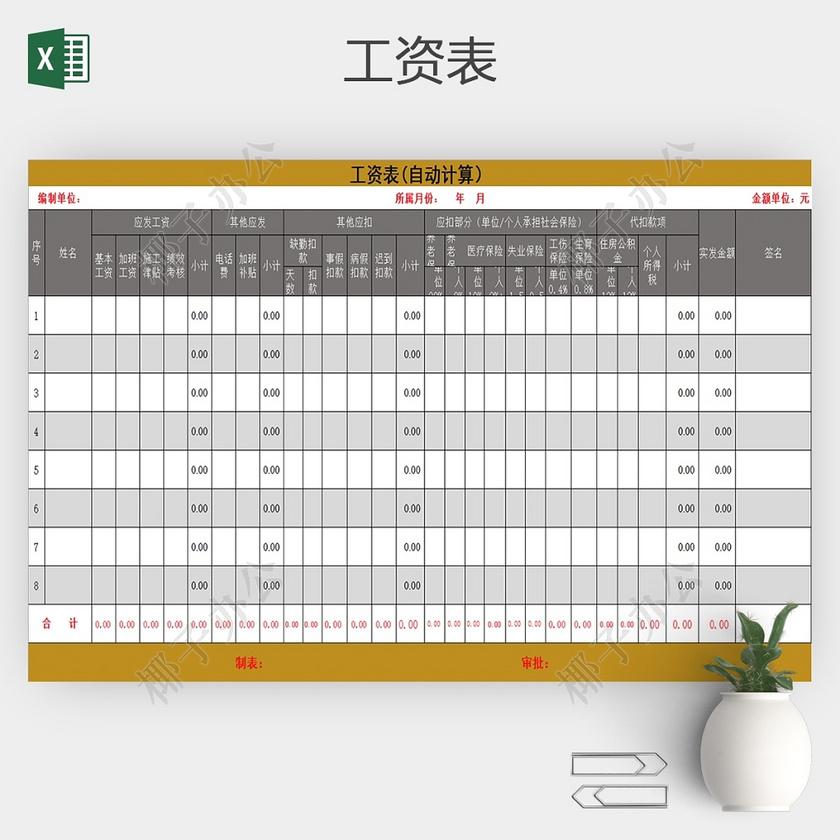 工厂员工工资单表格_简单实用版公司企业员工工资表Excel-椰子办公