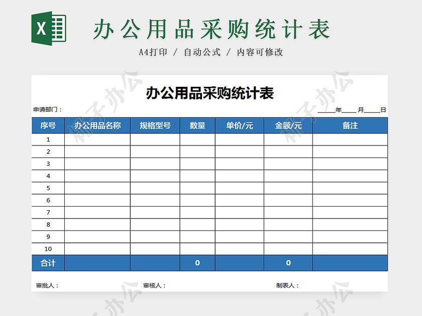 办公耗材供货合同_办公用品采购统计表-椰子办公